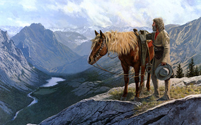 Cowboy, muzhik, horse, Wild West, Mountains