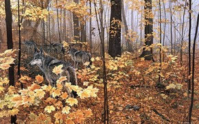 painting, nature, forest, autumn, animals, Wolves, yellow leaves, maple