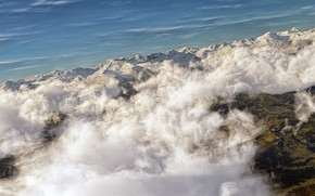 Art, clouds, sky, top view, Mountains, ridge