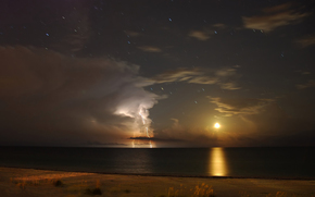 moon, lightning, Gulf of Mexico, Antares, Star, clouds