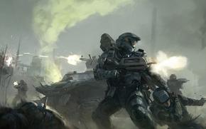 Soldados, armadura, arma, tiros, recuar, tcnica, fumar