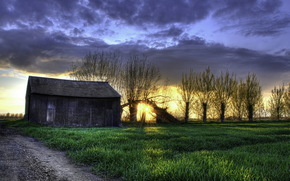 sunset, field, home, landscape