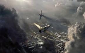 самолет, небо, облака, авиаудар, война
