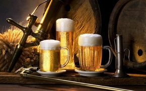beer, on tap, foam, delicious, cold, mugs, GLASSES