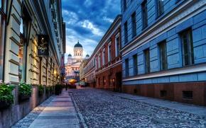 city, helsinki, finland, cathedral, sunset, street, road, coblestone, city, Helsinki, Finland, Cathedral, sunset, Street, road