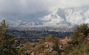 Montagnes, Ville, Hills, fort