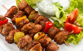 shashlik, skewers, vegetables, sauce, cucumber, tomatoes, salad
