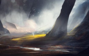 Art, rocks, landscape, river, spire, light, meadow, Birds