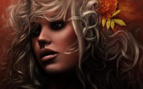 арт, девушка, лицо, кудряшки, волосы, цветы