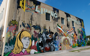 citt, edificio, disegni, graffiti, ragazza, uccello, Topolino