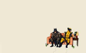 Бэтмен, batman, минимализм, комикс, wolverine, росомаха, диван, джойстик, играют, банки, диски, лампа