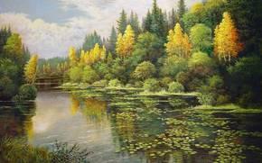 pittura, inizio autunno, bosco misto, betulla gialla, lago, fiori di loto