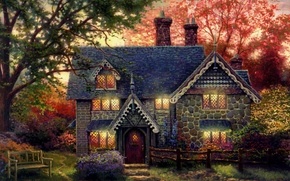 ART, painting, evening, stone cottage, cottage, light in the windows, shop, bench, home