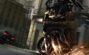 motocicletta, pistola, ripresa, scintilla, inseguimento