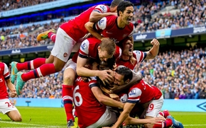 Arsenal, Club de Ftbol, Arsenal, Jugadores, celebrar, podio, fondo