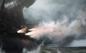 война, корабль, море, пушки