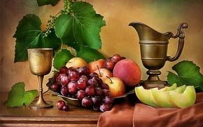 芸術写真, 構図, 静物, テーブル, 果物, 鉄のカップ, 鍋, 芸術写真, 構図, 静物, テーブル, フルーツ, 鉄のカップ, 調理器具