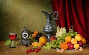 芸術写真, 構図, 静物, テーブル, 果物, 鉄のカップ, クロック, 芸術写真, 構図, 静物, テーブル, フルーツ, 鉄のカップ, 見守る