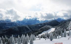 Montagne, panorama, paesaggio, neve, foresta, inverno, nuvole
