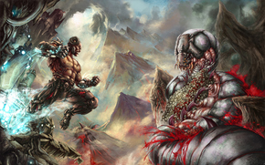 Cyborg, jump, energy, wounds, worm, blood, Skull, Mountains, clouds, scramble
