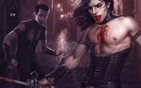 Art, boys, Vampires, blood, weapon, city, lane, lights