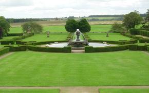 lawn, lawn, park, fountain, landscape