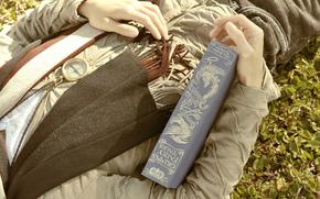 stato d'animo, uomo, tipo, libro, bussola, viaggio, sciarpa, anello, natura, erba, fogliame, lascia, sfondo, carta da parati
