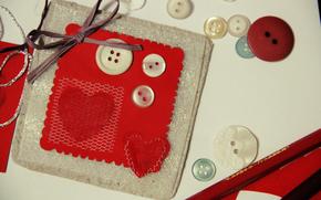 разное, ткань. пуговицы, лента, бантик, серце, сердечко. красный, фон, обои