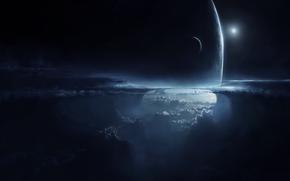 艺术, 地球, 卫星, 天空, 气氛, 云, 夜, 高度