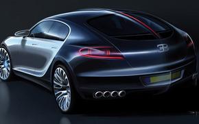 Car, двухцветный, back view, bugatti