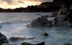 sea, stones, surf, water, cobbles