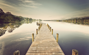 lake, berth, wharf, board, pier, Trees, clouds, smooth surface, reflection