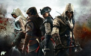 assassin's creed iii, Altair, Ezio, Connor, Evelyn