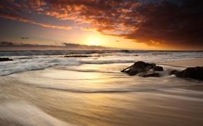 sea, sunset, waves, foam, breaker, sky, clouds