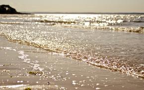 море, побережье, песок, волны, солнце, блики