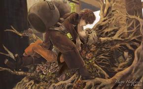 короткие волосы, высокое разрешение, светлые волосы, мужчина, каштановые волосы, цветок, закрытые глаза, надпись, профиль, брюки, бандана, лицом к лицу, корни, бутыль из тыквы