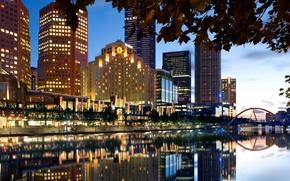 город, Мельбурн, Австралия, мост, огни, небо, скачать обои для рабочего стола, широкоформатные обои, скачать обои