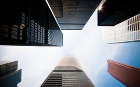 город, небоскребы, небо, солнце, скачать обои для рабочего стола, широкоформатные обои, скачать обои