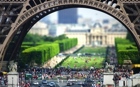 Tilt Shift, Eiffel Tower, Paris, France, people, machinery