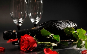 champagne, cups, rose, petals, leaves, Шампанское, кубки, розы, лепестки, листья