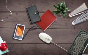 computer, mouse, Scrivania, fiore, tastiera, telefono, taccuino, mela, ipad