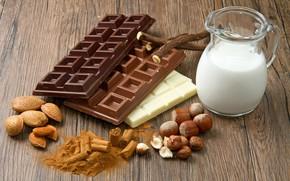 chocolate, milk, hazelnuts, almonds, шоколад, молоко, фундук, миндаль