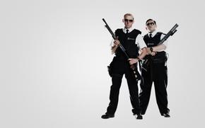 simon pegg, Simon Pegg, nick frost, Nick Frost, weapon, Guns, police, hot fuzz, Hot Fuzz, police