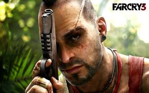 игра, far cry 3, Ваас, пират, безумец, ирокез, шрам, пистолет
