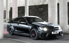 Mercedes Benz, AMG, compartimiento, Negro seriez, Negro serie, Merc, caballo castrado, Ingls versin, Papel pintado, pared, columna, Mercedes
