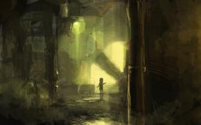 арт, девушка, фонарь, лестница, оружие