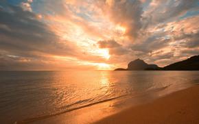 море, берег, песок, закат, золотой, облака