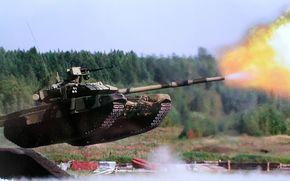 tank, Russian, heavy tank, jump, shot, polygon