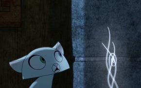 Secret of Kells, Pangur Ban, fantasa, Dibujos animados, tarde, gato