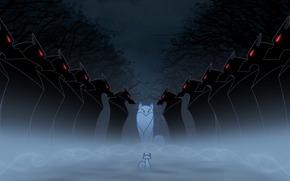 Secret of Kells, fantasy, Cartoon, Wolves, fog, dark forest, darkness, Pangur Ban, Eshling